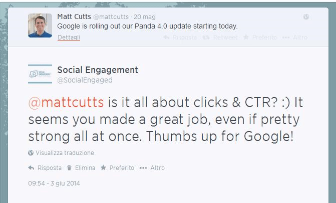 twitter matt cutts social engagement panda 4.0 ctr